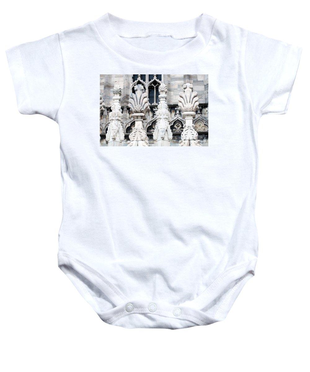Horizontal Baby Onesie featuring the photograph Marble Facade II Duomo Di Milano Italia by Sally Rockefeller