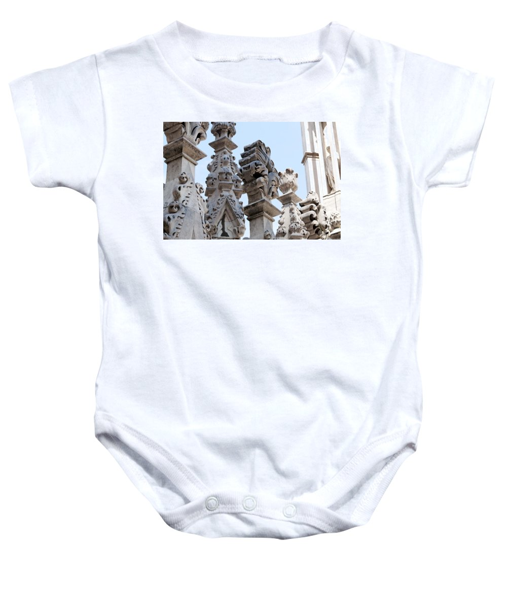 Horizontal Baby Onesie featuring the photograph Marble Facade With Tower Duomo Di Milano Italia by Sally Rockefeller