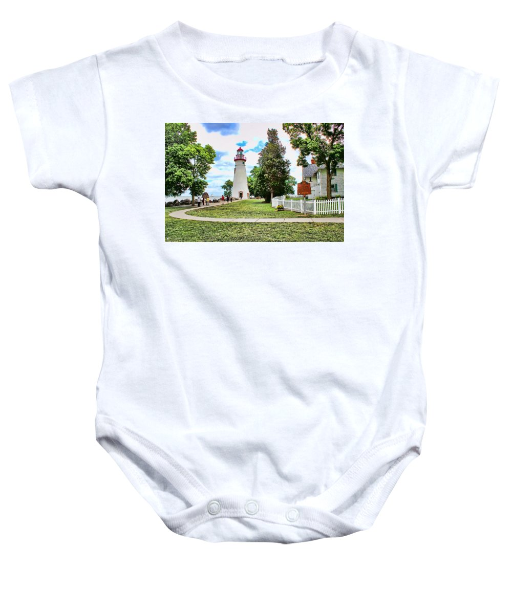 Marblehead Baby Onesie featuring the painting Marblehead Lighthouse by Tom Schmidt