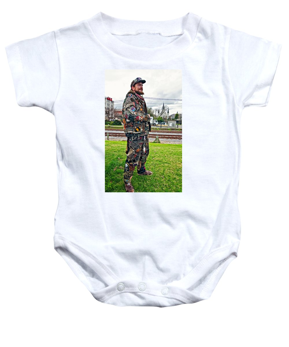 French Quarter Baby Onesie featuring the photograph Marching To His Own Drummer 2 by Steve Harrington