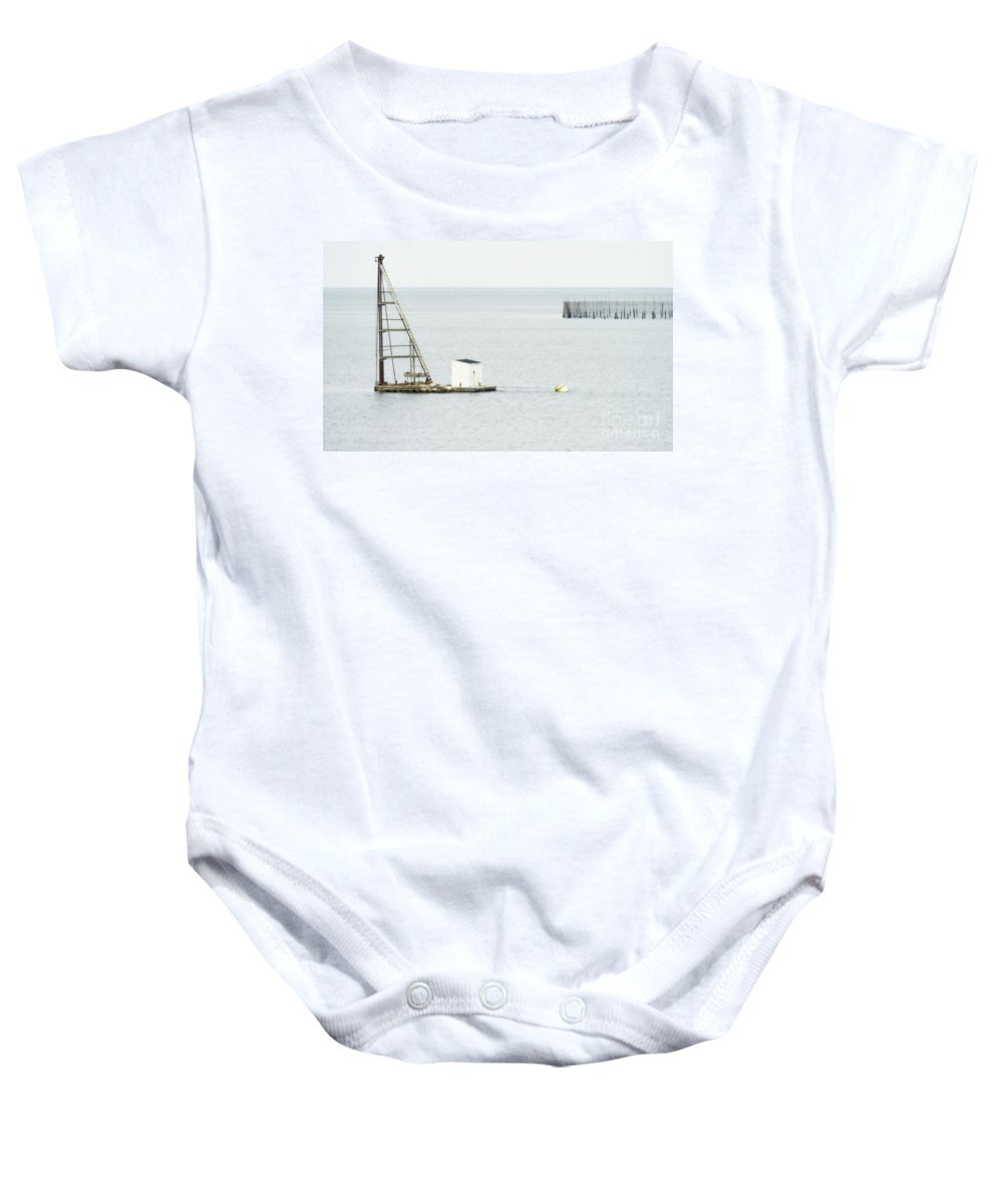 Festblues Baby Onesie featuring the photograph Maritime Dreams... by Nina Stavlund