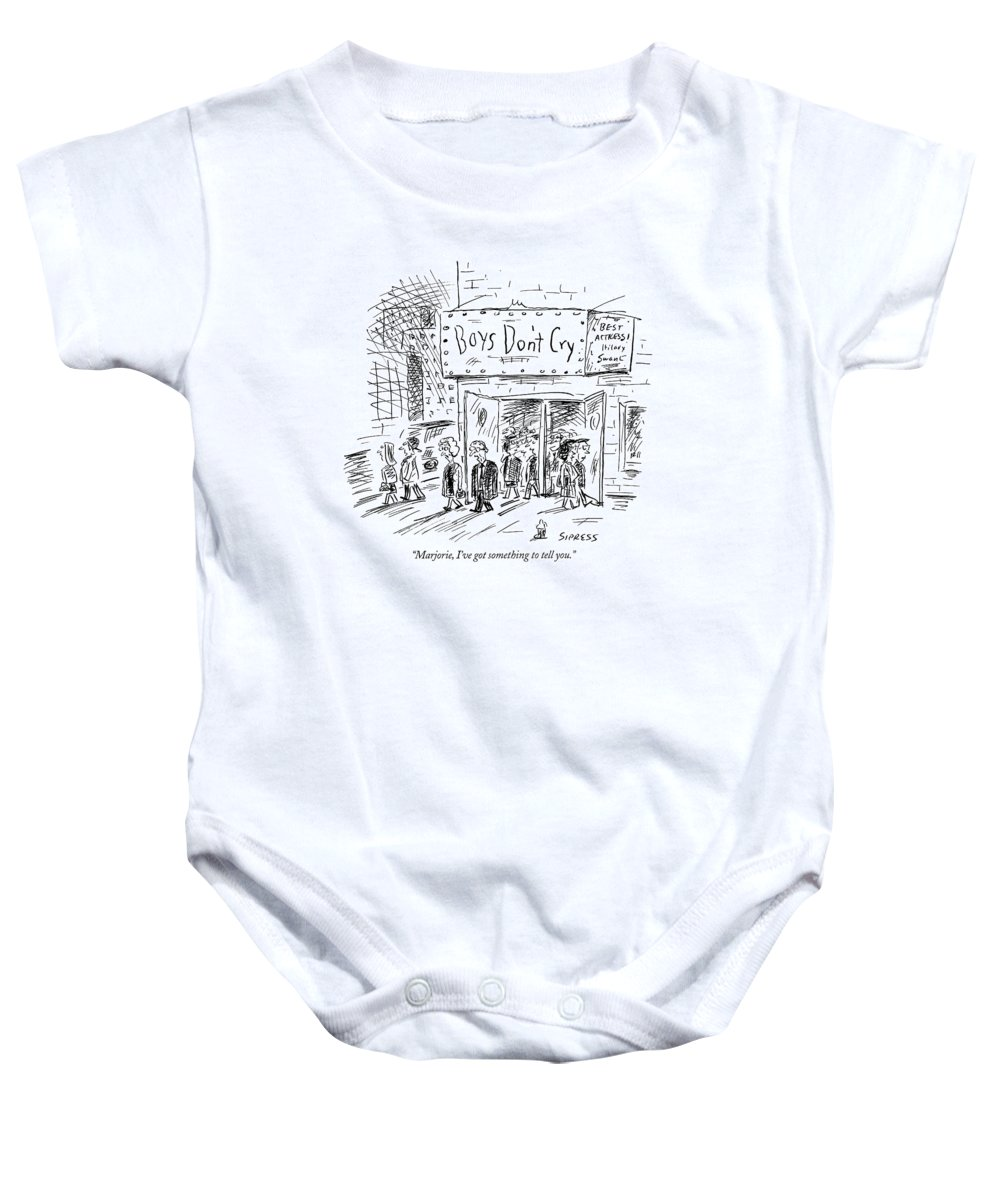 Women Baby Onesie featuring the drawing Marjorie, I've Got Something To Tell You by David Sipress