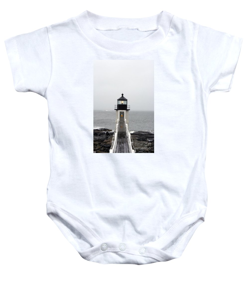 Lighthouse Baby Onesie featuring the photograph Marshall Point Light On A Foggy Day by Christiane Schulze Art And Photography