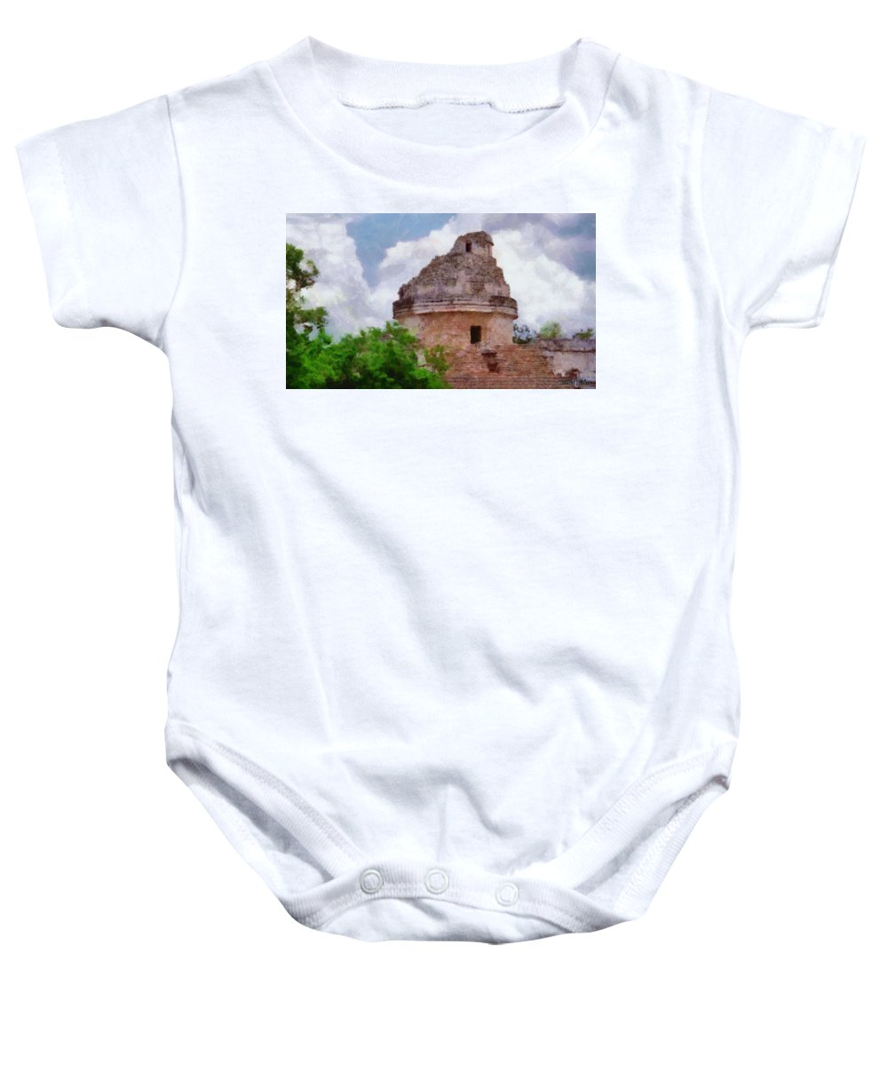 Yucatan Baby Onesie featuring the painting Mayan Observatory by Jeffrey Kolker