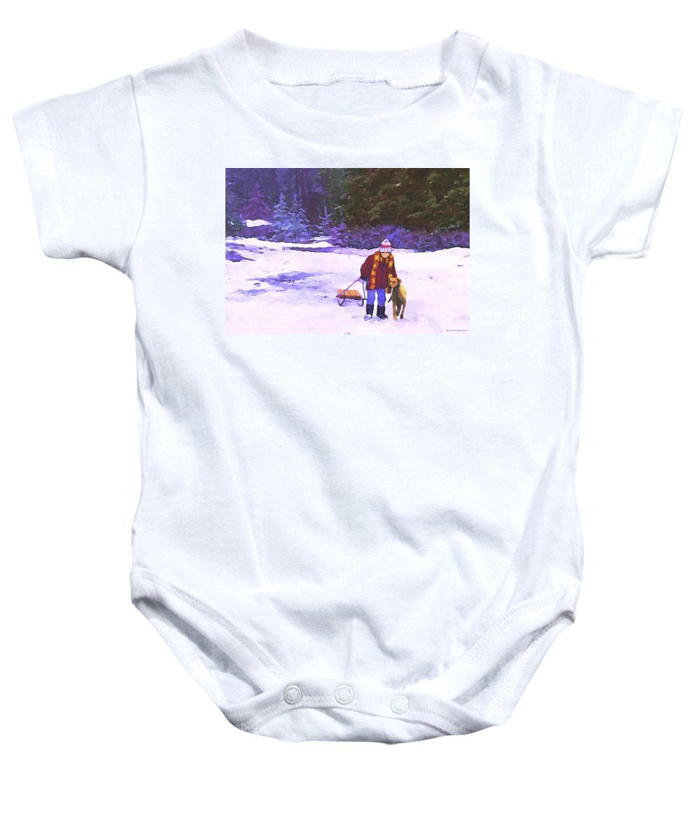 Landscape Baby Onesie featuring the painting Me And My Buddy by Sophia Schmierer