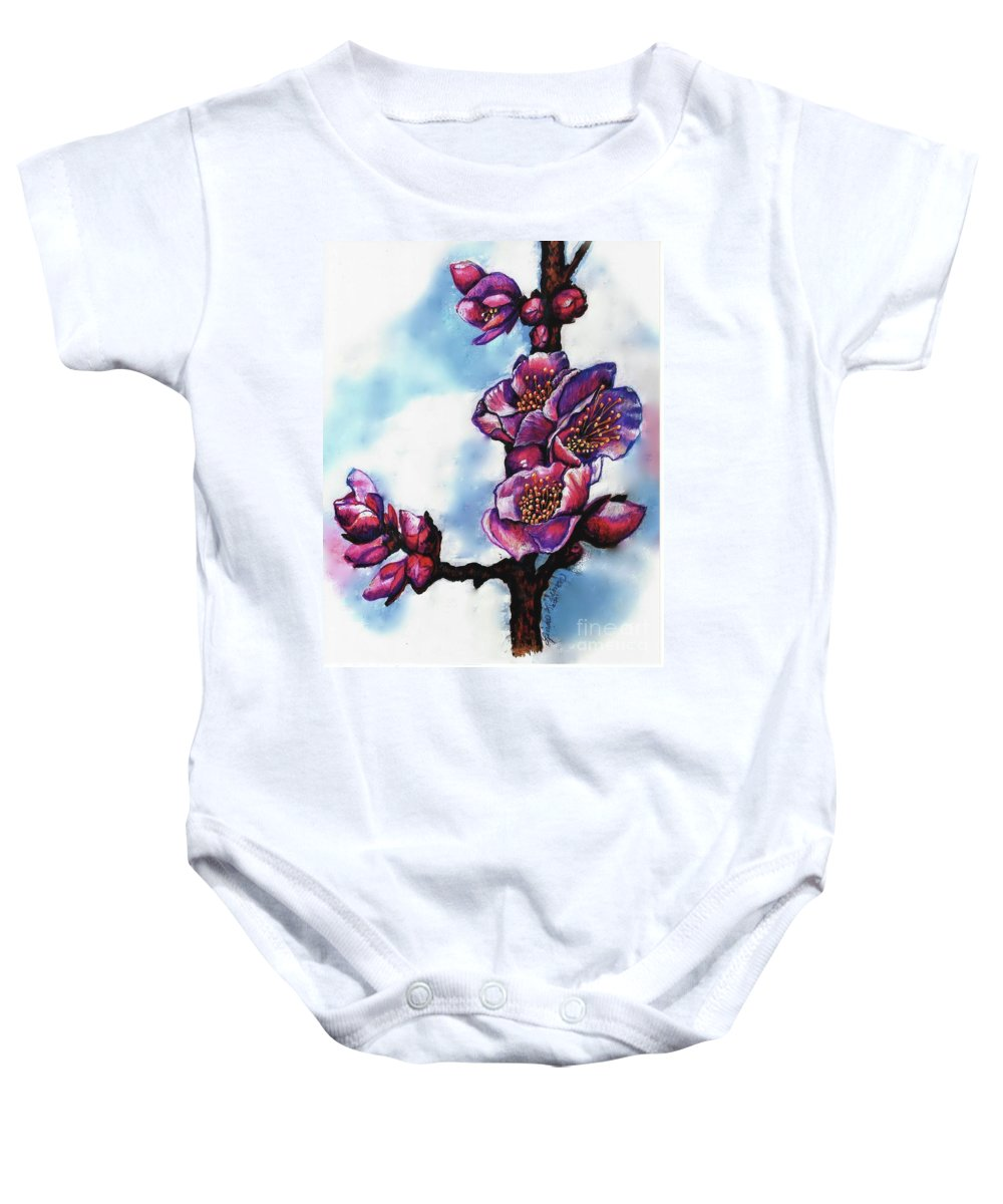 Floral Painting Baby Onesie featuring the painting Mei by Linda Simon