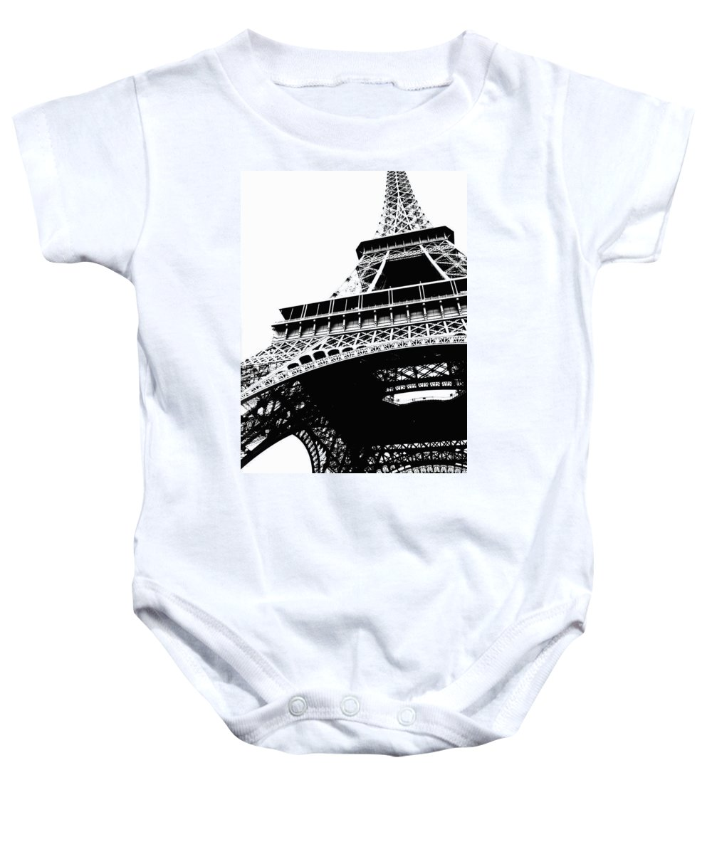 Black And White Baby Onesie featuring the photograph Eiffel Tower Silhouette by Carol Groenen