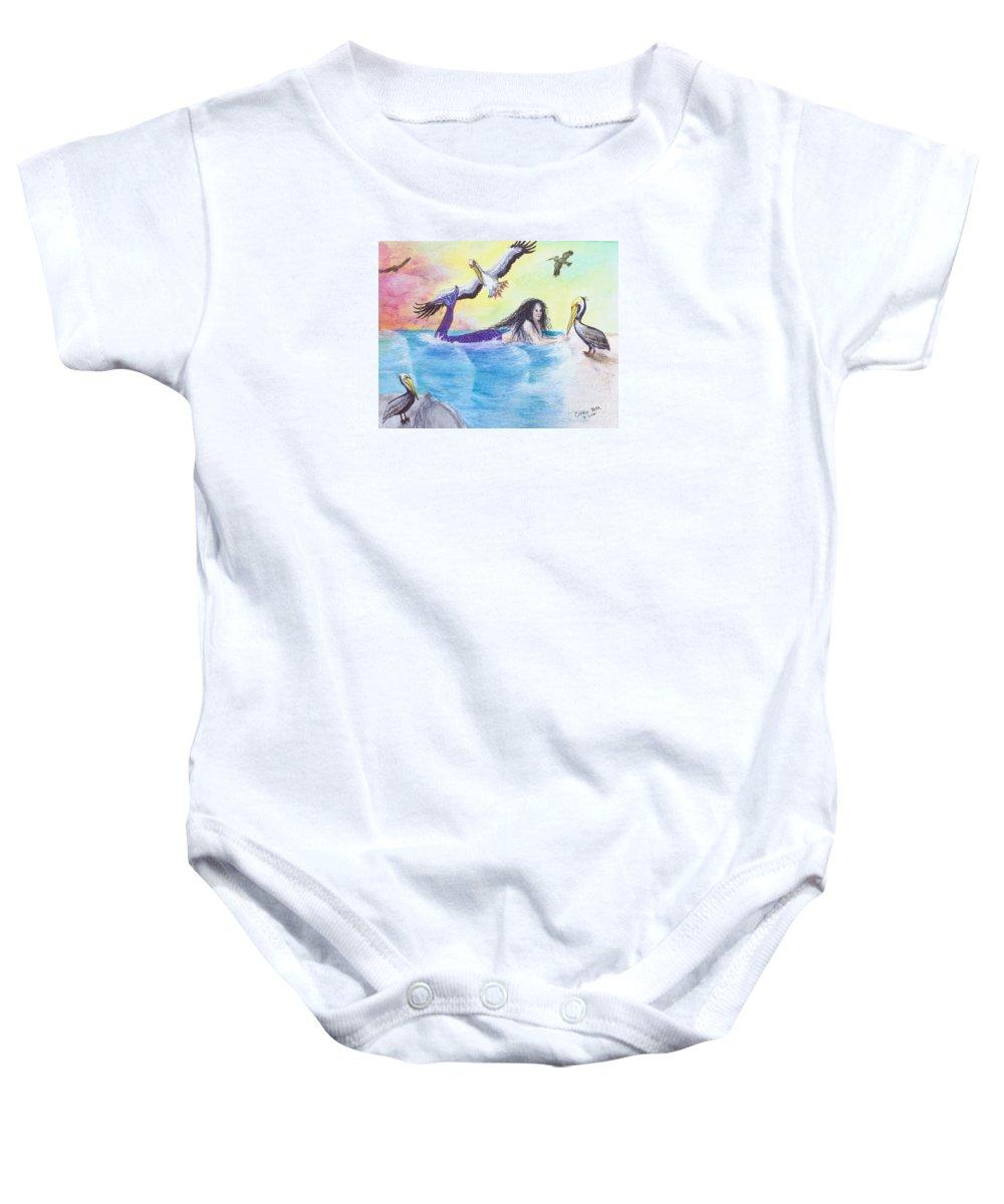 Mermaid Baby Onesie featuring the painting Mermaid Pelicans Surf Beach Cathy Peek Art by Cathy Peek
