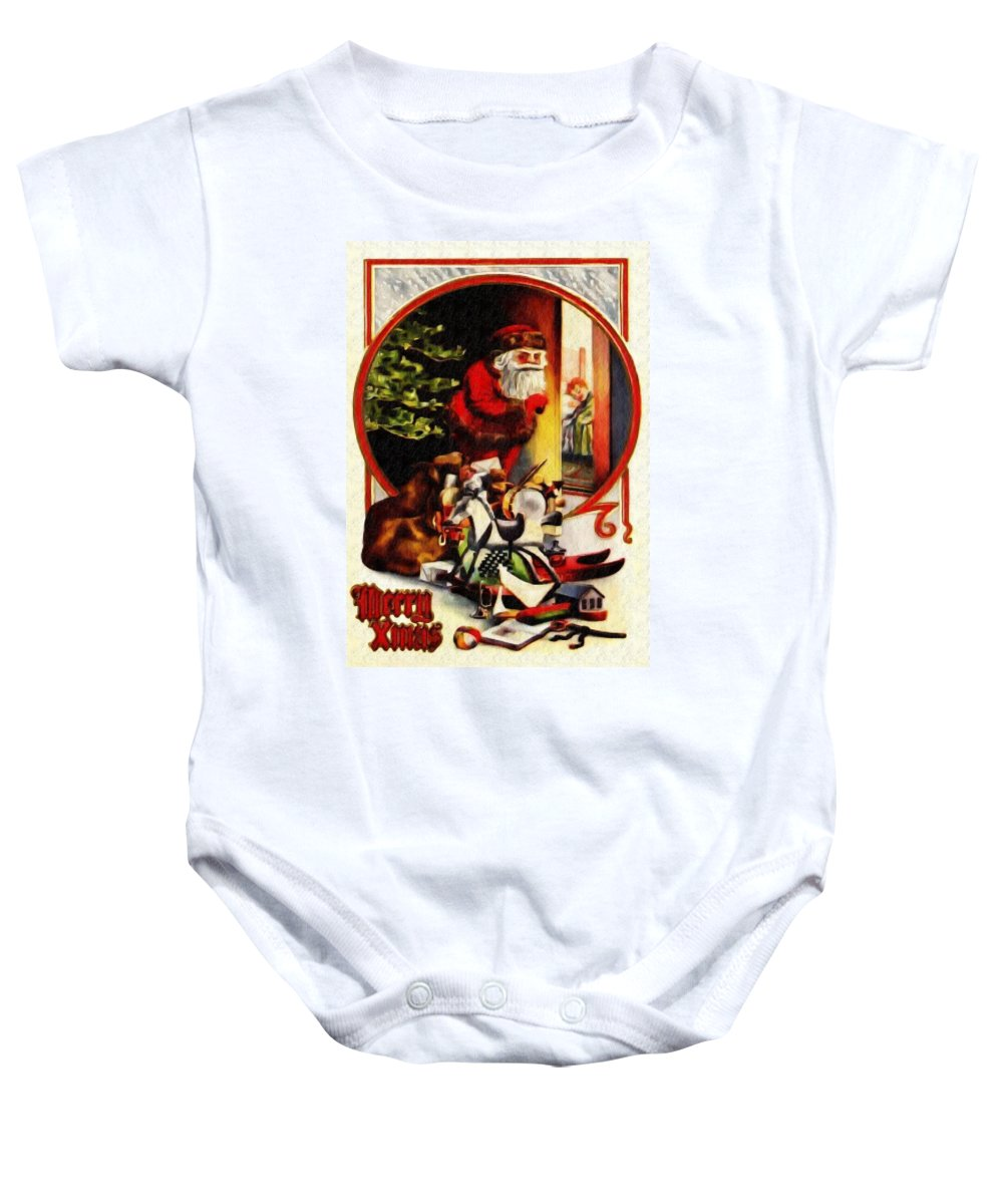 Merry Xmas Baby Onesie featuring the digital art Merry Xmas by Bill Cannon