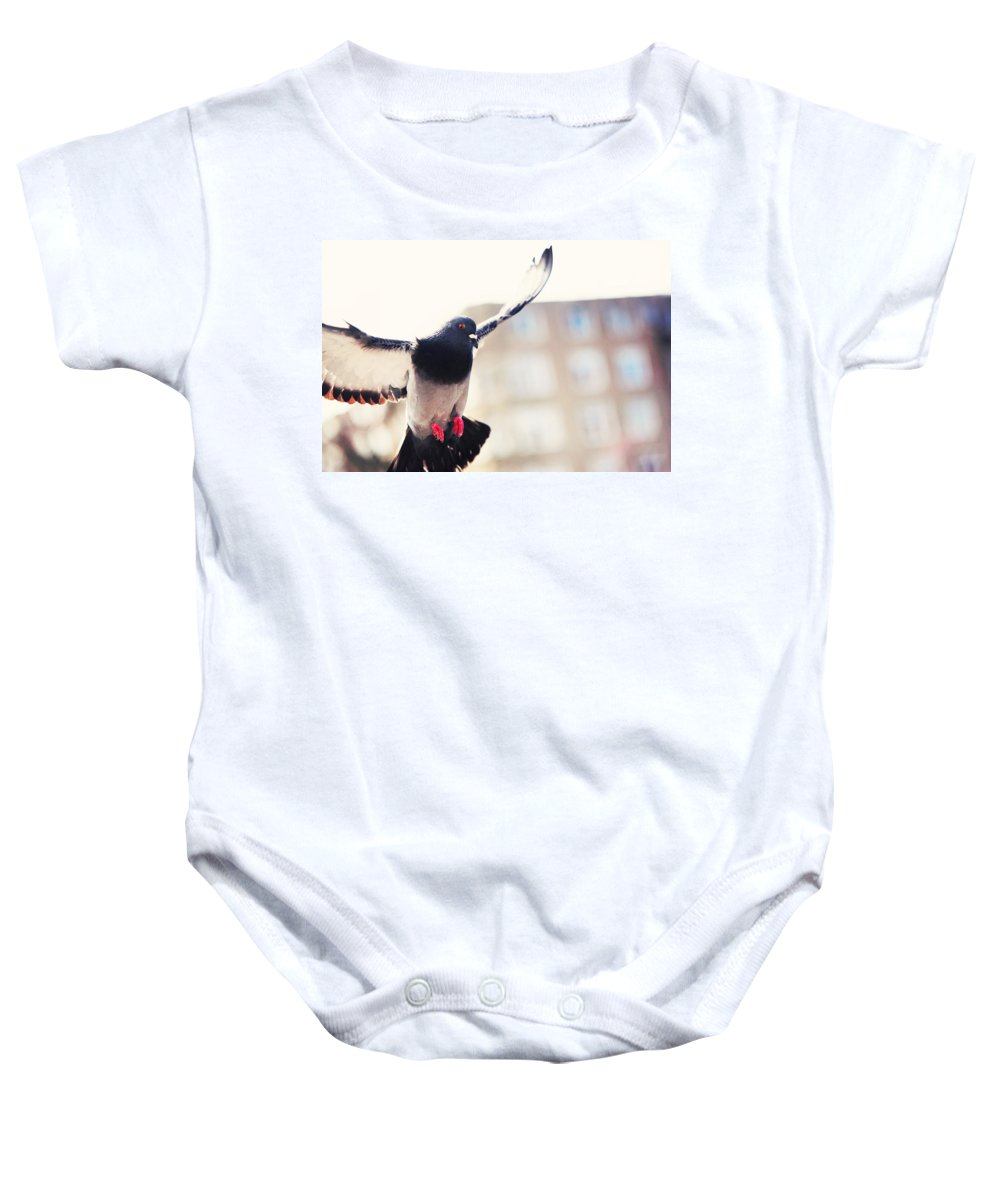 Amsterdam Baby Onesie featuring the photograph Messenger Of Love. Pink Spring In Amsterdam by Jenny Rainbow
