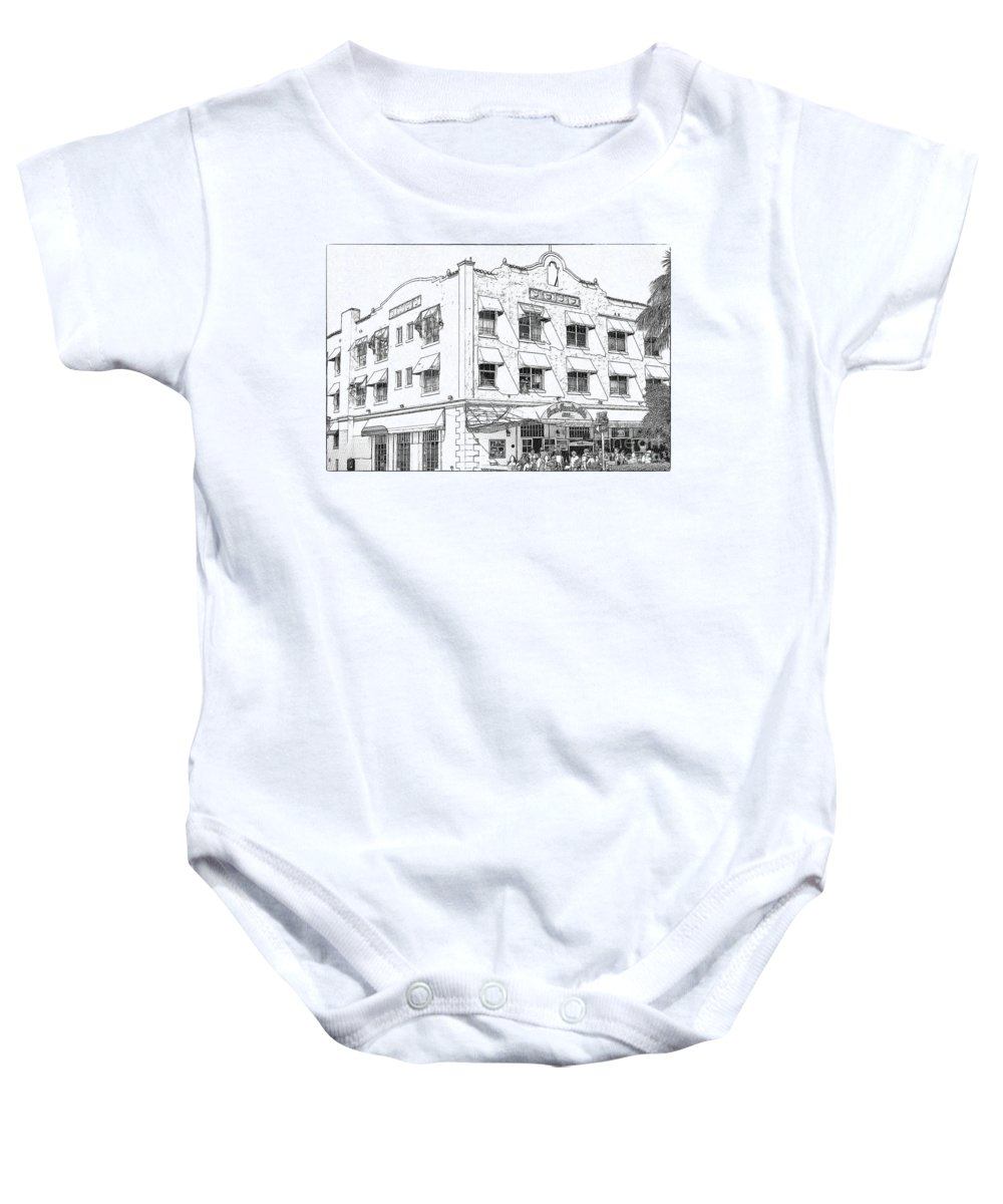 South Baby Onesie featuring the photograph Miami South Beach - Beach Paradise Hotel by Les Palenik