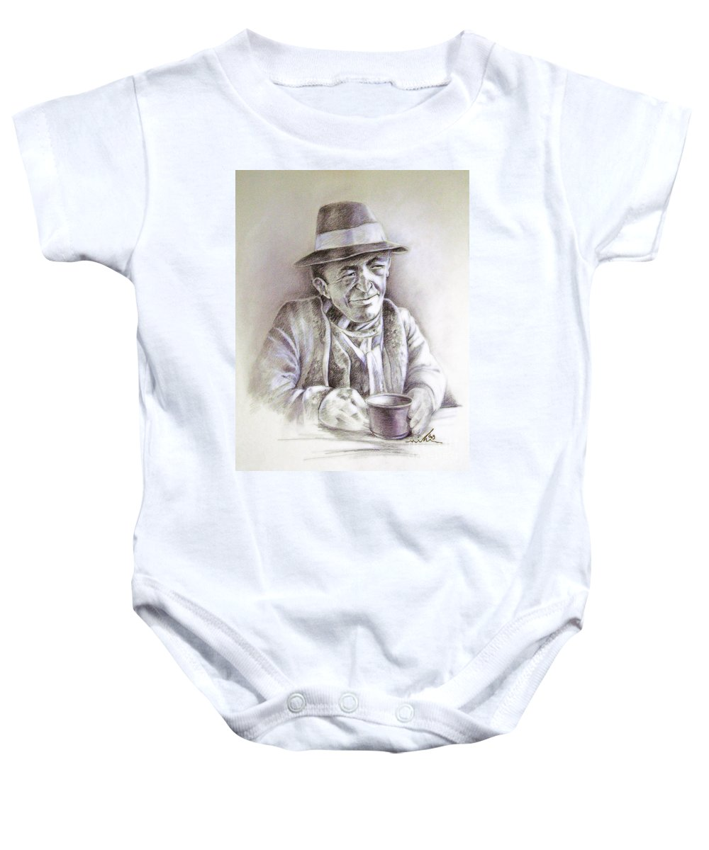Portrait Michael Anderson Baby Onesie featuring the painting Michael J Anderson by Miki De Goodaboom