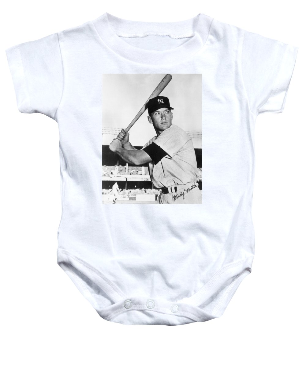 Mickey Baby Onesie featuring the photograph Mickey Mantle At-bat by Gianfranco Weiss