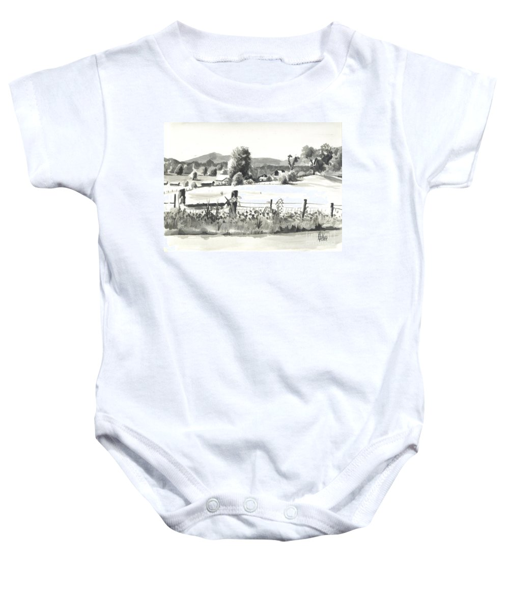 Midsummer View Out Route Jj  No I101 Baby Onesie featuring the painting Midsummer View Out Route Jj  No I101 by Kip DeVore