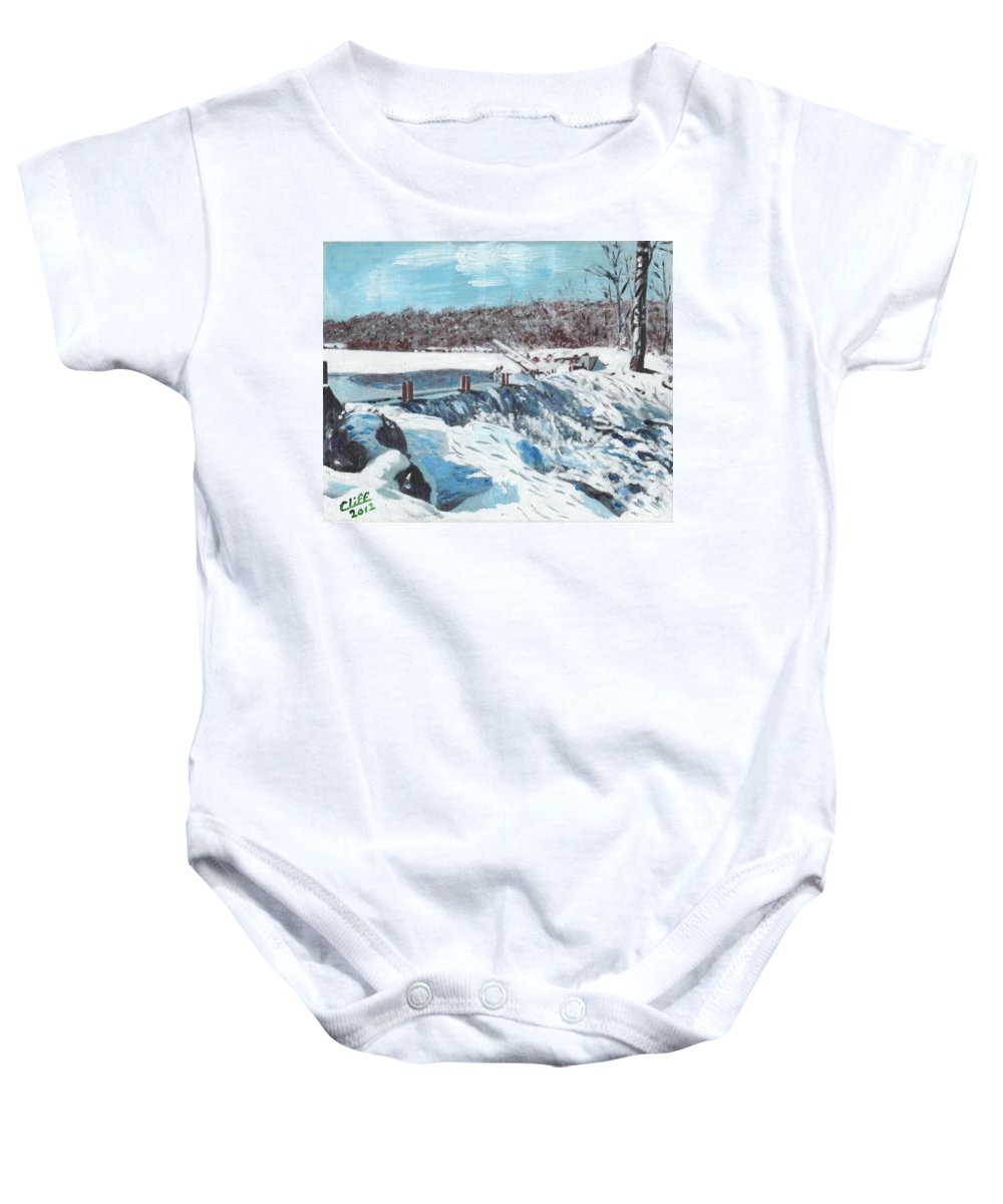 Mill. Pond Baby Onesie featuring the painting Mill Pond In Winter by Cliff Wilson