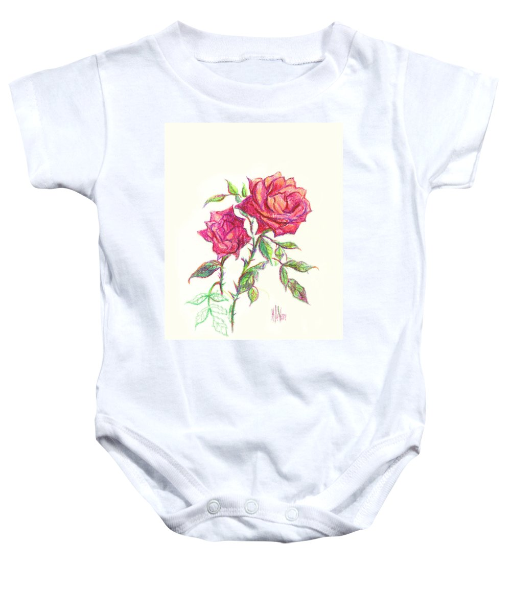 Nature Baby Onesie featuring the painting Minature Red Rose by Kip DeVore