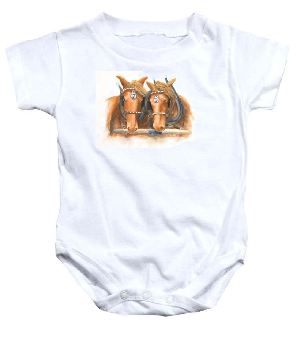 Horse Baby Onesie featuring the painting Mini And Jake by Jerry McElroy