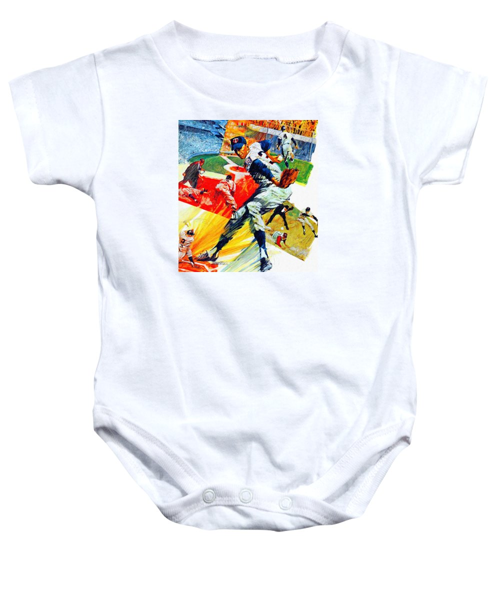 Minnesota Twins Baby Onesie featuring the painting Minnesota Twins 1968 Yearbook Artwork by John Farr