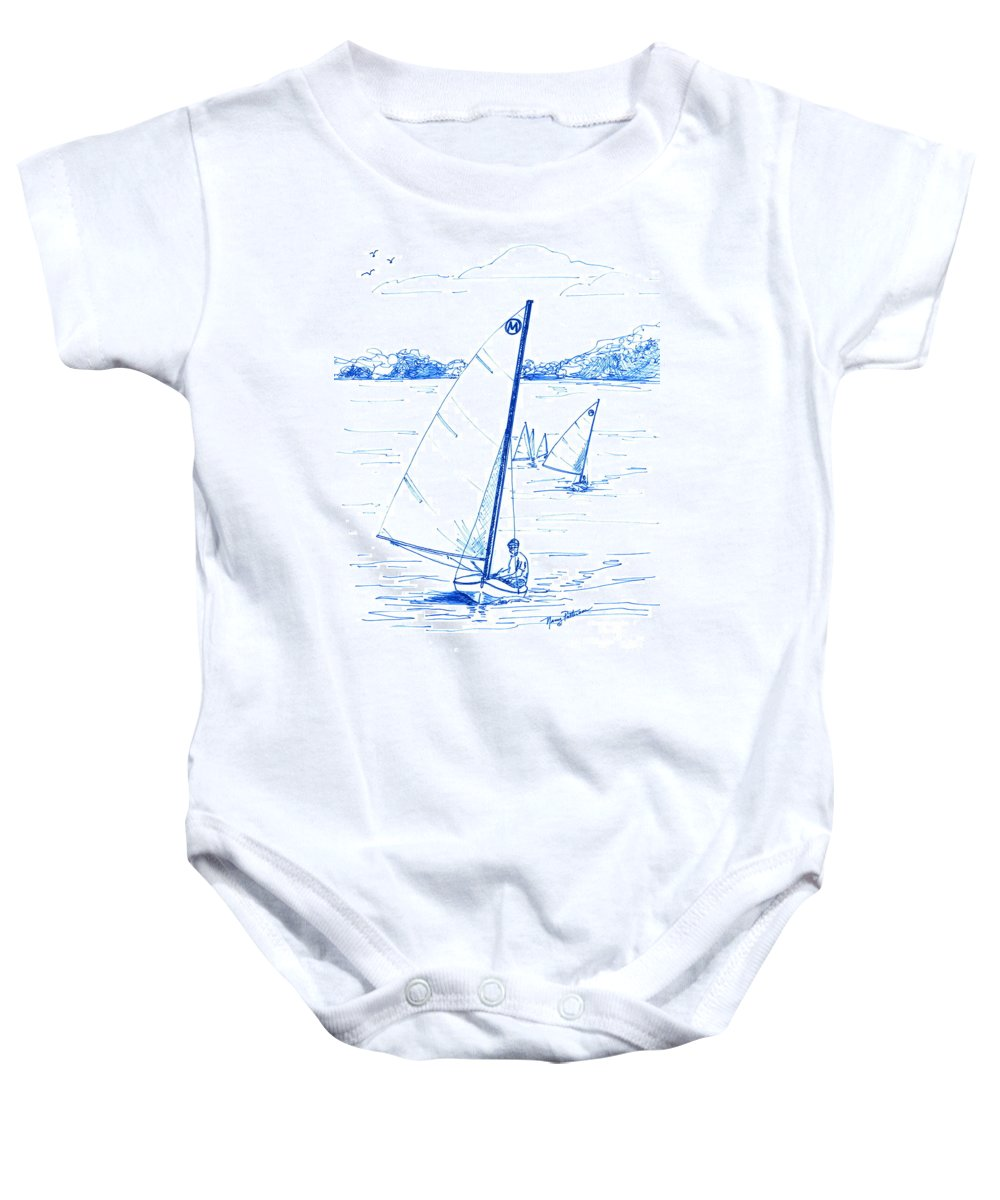 Mint Design Classic Moth Class Sailboat Baby Onesie featuring the drawing Mint Classic Moth In Blue by Nancy Patterson