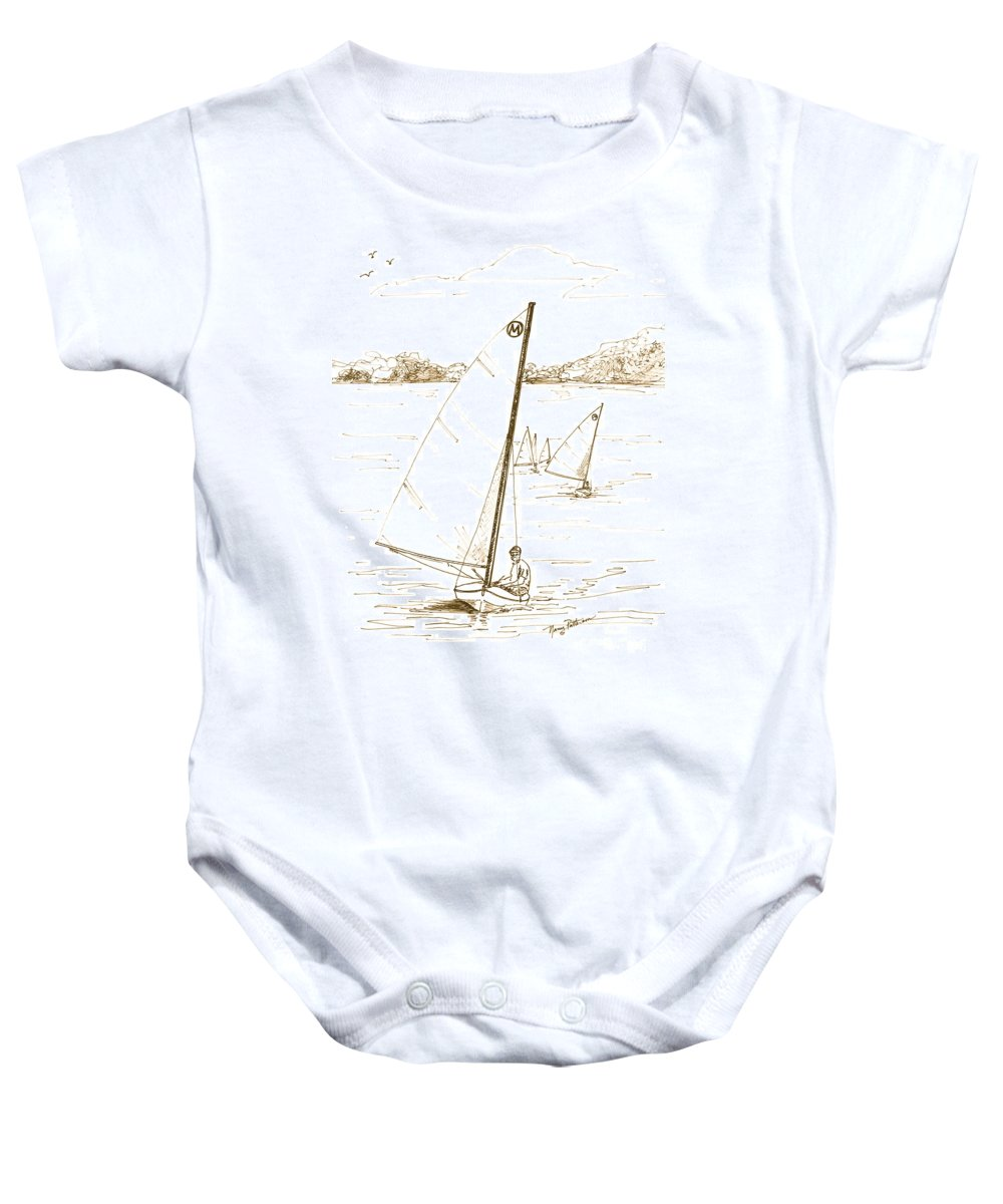 Mint Design Classic Moth Sailboat Baby Onesie featuring the drawing Mint Classic Moth In Sepia by Nancy Patterson