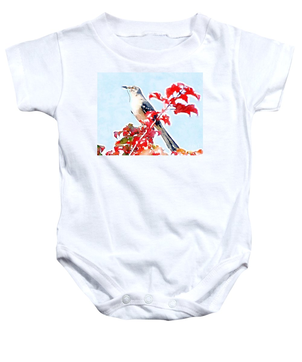Mockingbird Baby Onesie featuring the photograph Mockingbird In The Leaves - Watercolor by Kerri Farley