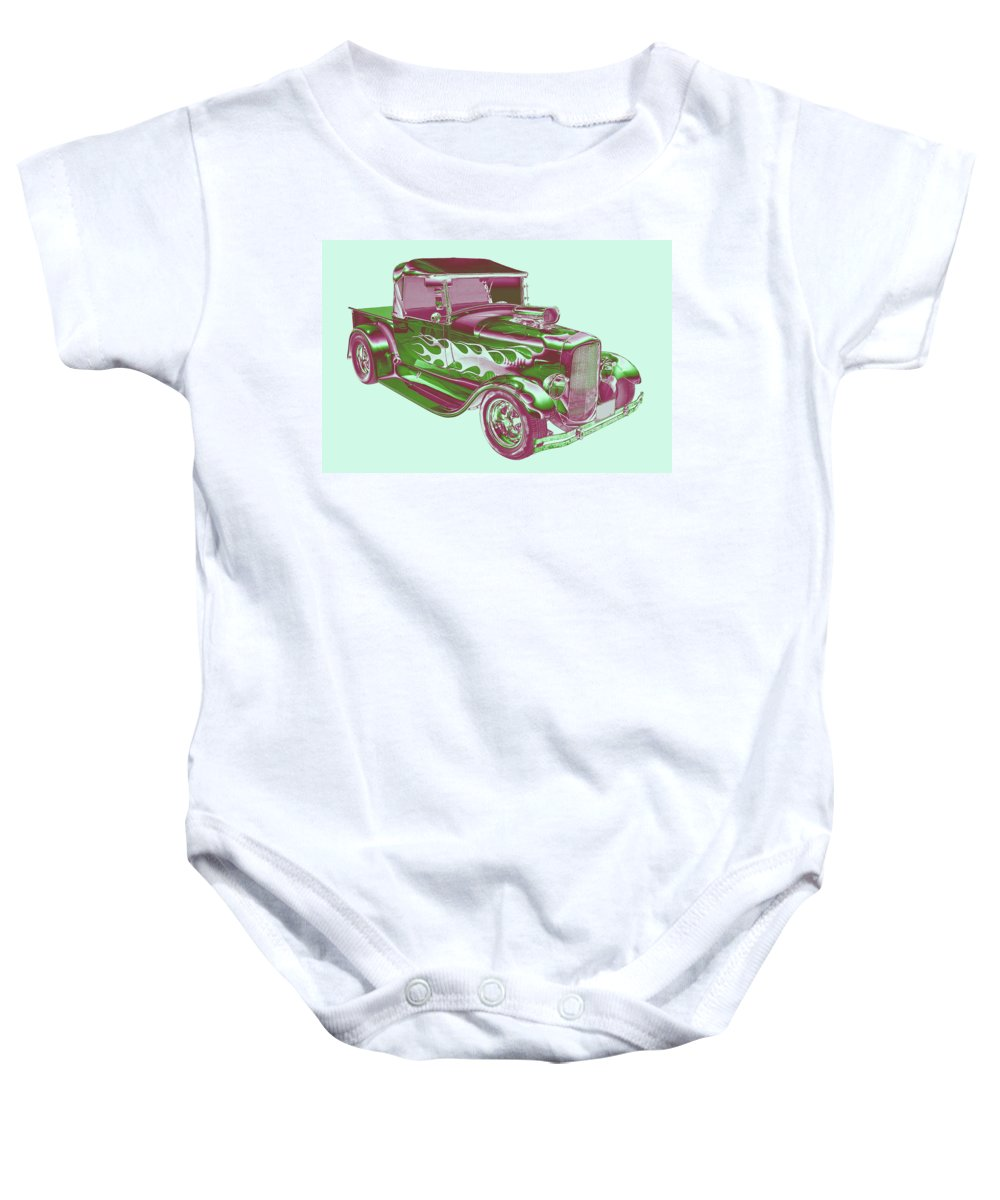 Model A Pickup Truck Baby Onesie featuring the photograph Model A Ford Pickup Hotrod. by Keith Webber Jr