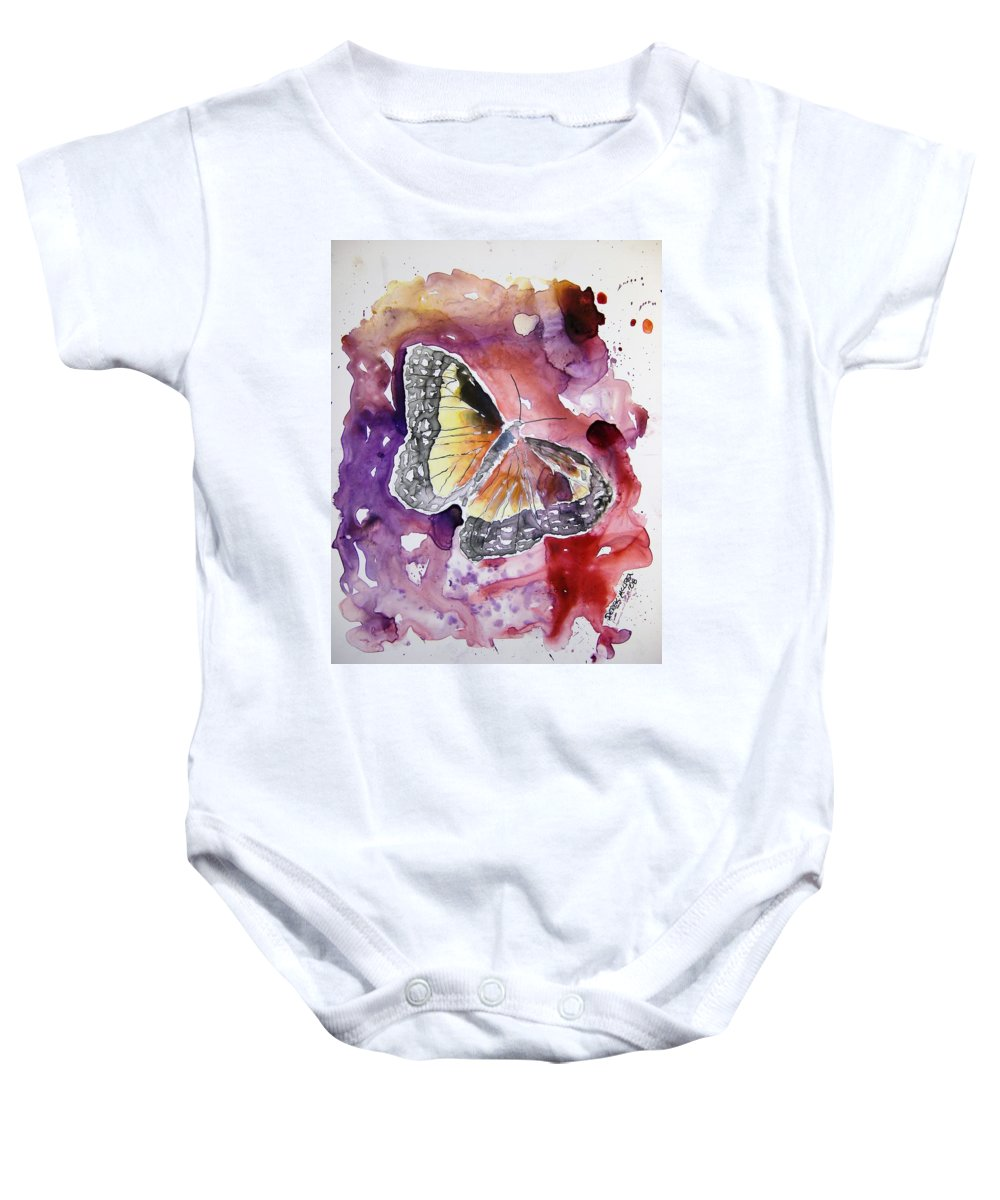 Monarch Baby Onesie featuring the painting Monarch Butterfly by Derek Mccrea