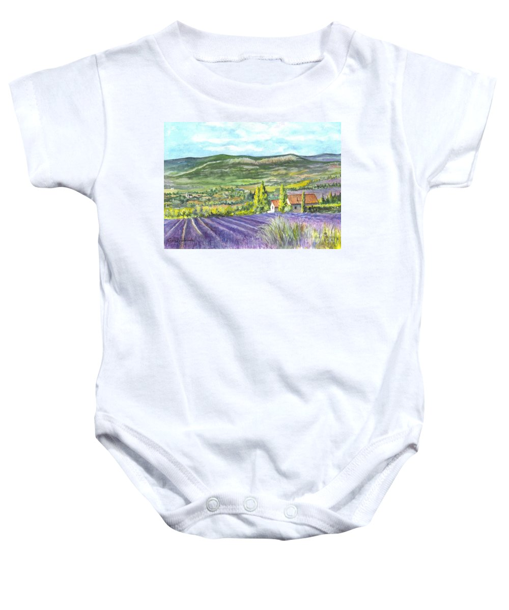 Watercolor Baby Onesie featuring the painting Montagne De Lure In Provence France by Carol Wisniewski