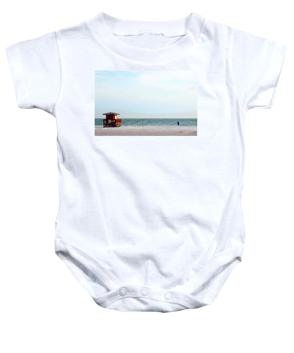 Coastal Baby Onesie featuring the painting Morning Walk By Sharon Cummings by Sharon Cummings