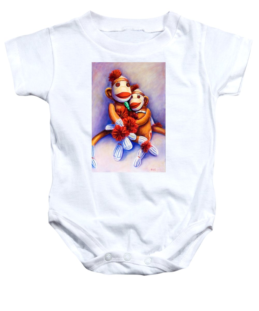 Children Baby Onesie featuring the painting Mother And Child by Shannon Grissom