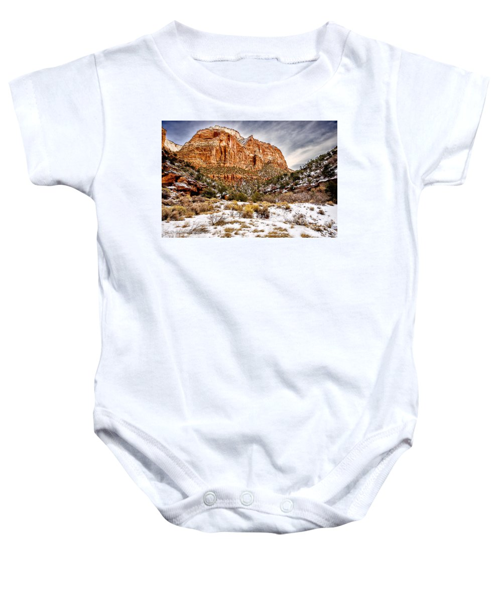 Landscape Baby Onesie featuring the photograph Mountain In Winter by Christopher Holmes