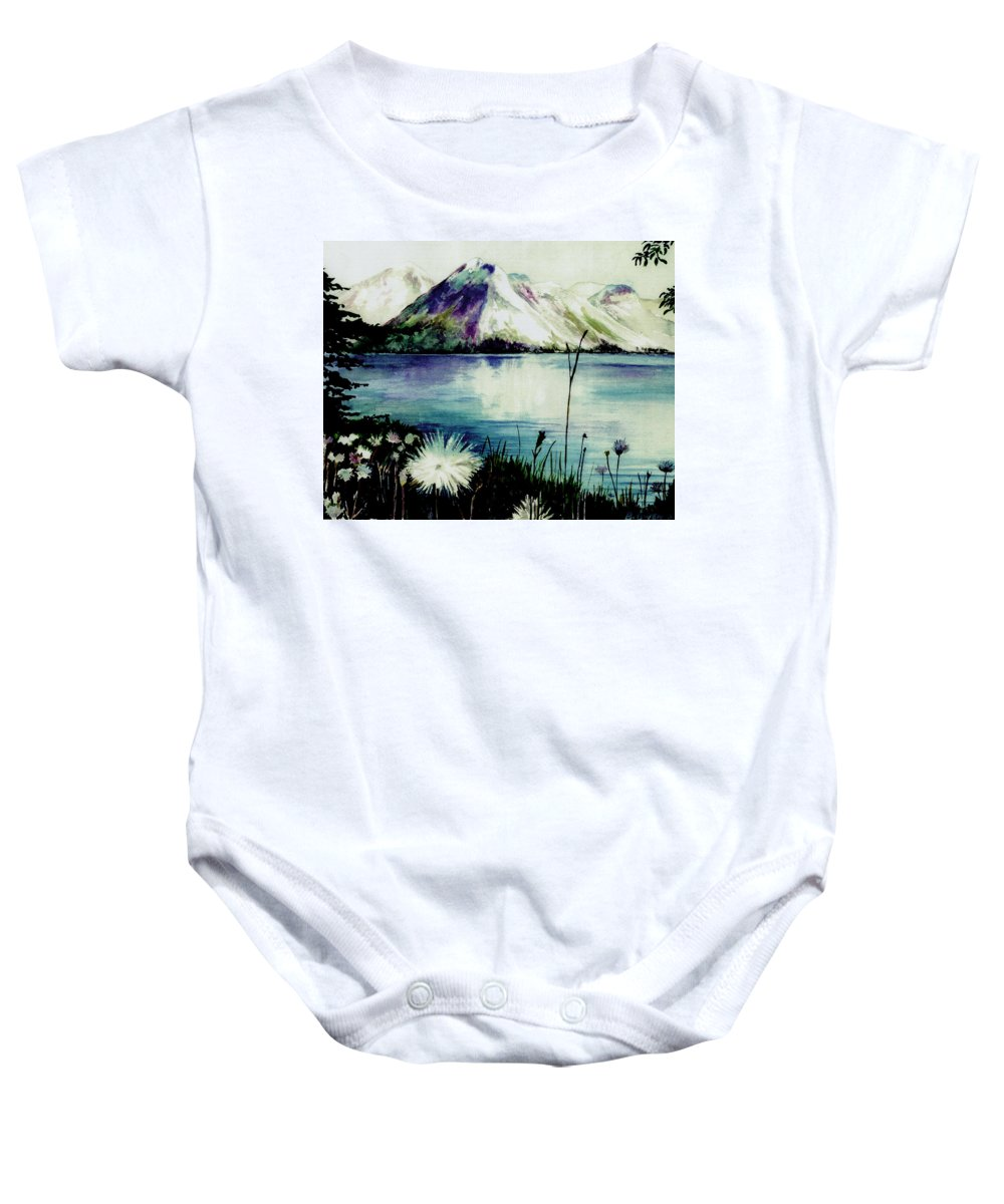 Landscape Baby Onesie featuring the painting Mountain Serenity by Brenda Owen