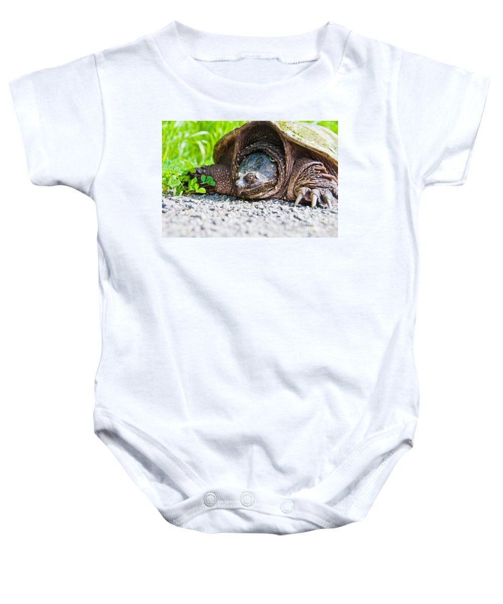 Snapping Turtle Baby Onesie featuring the photograph Mrs. Snapper by Cheryl Baxter