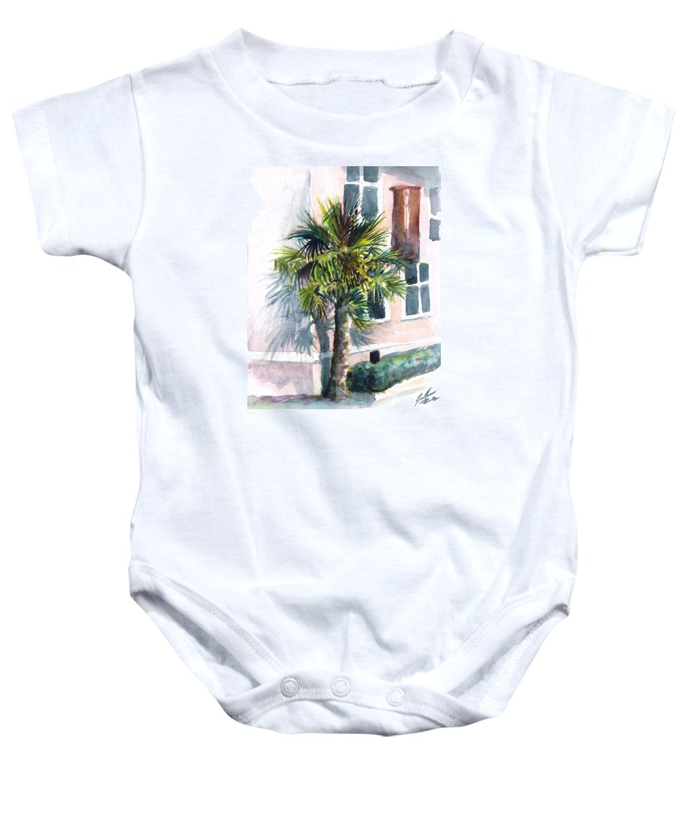 Palm Baby Onesie featuring the painting Museum Palm by Julie Morrison