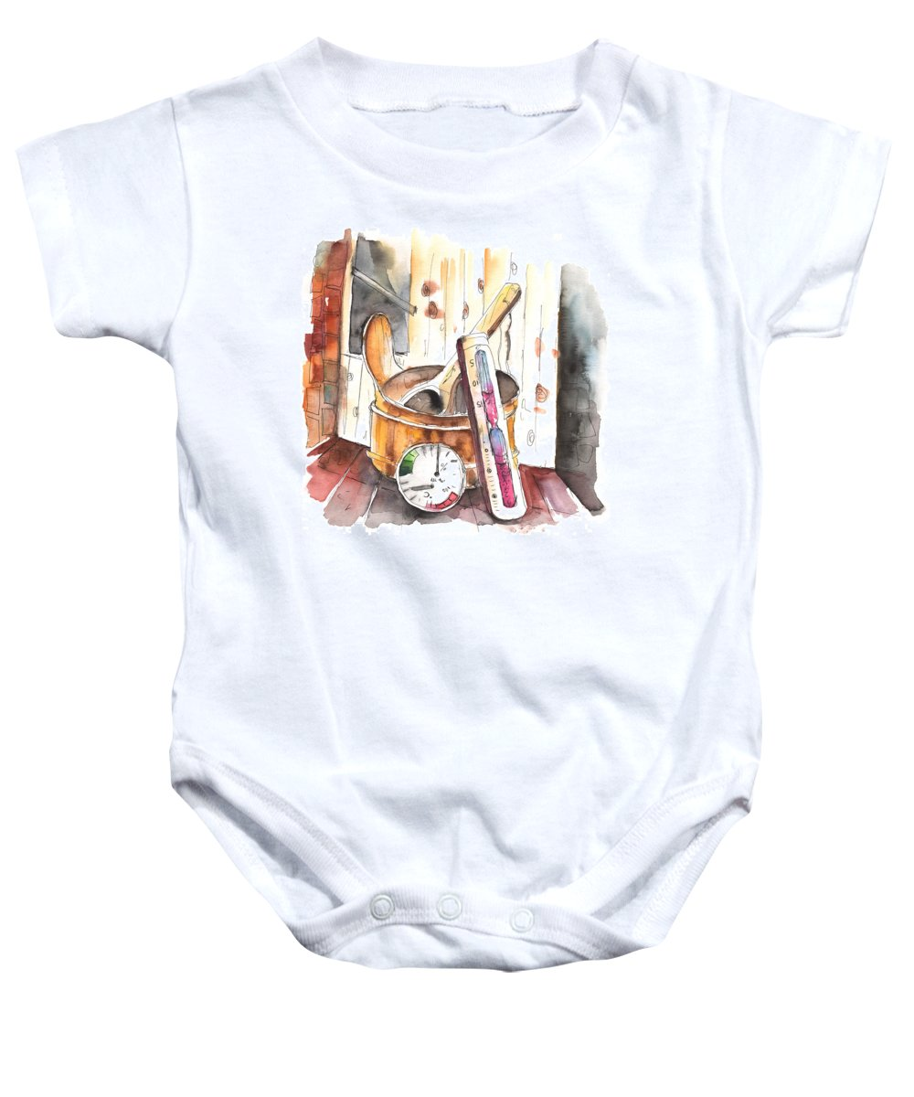 Still Life Baby Onesie featuring the painting My Sauna Kit by Miki De Goodaboom