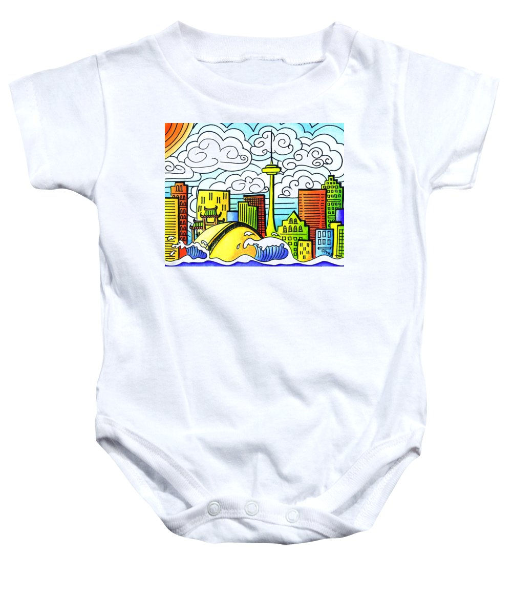 Toronto Baby Onesie featuring the painting My Toronto by Oiyee At Oystudio