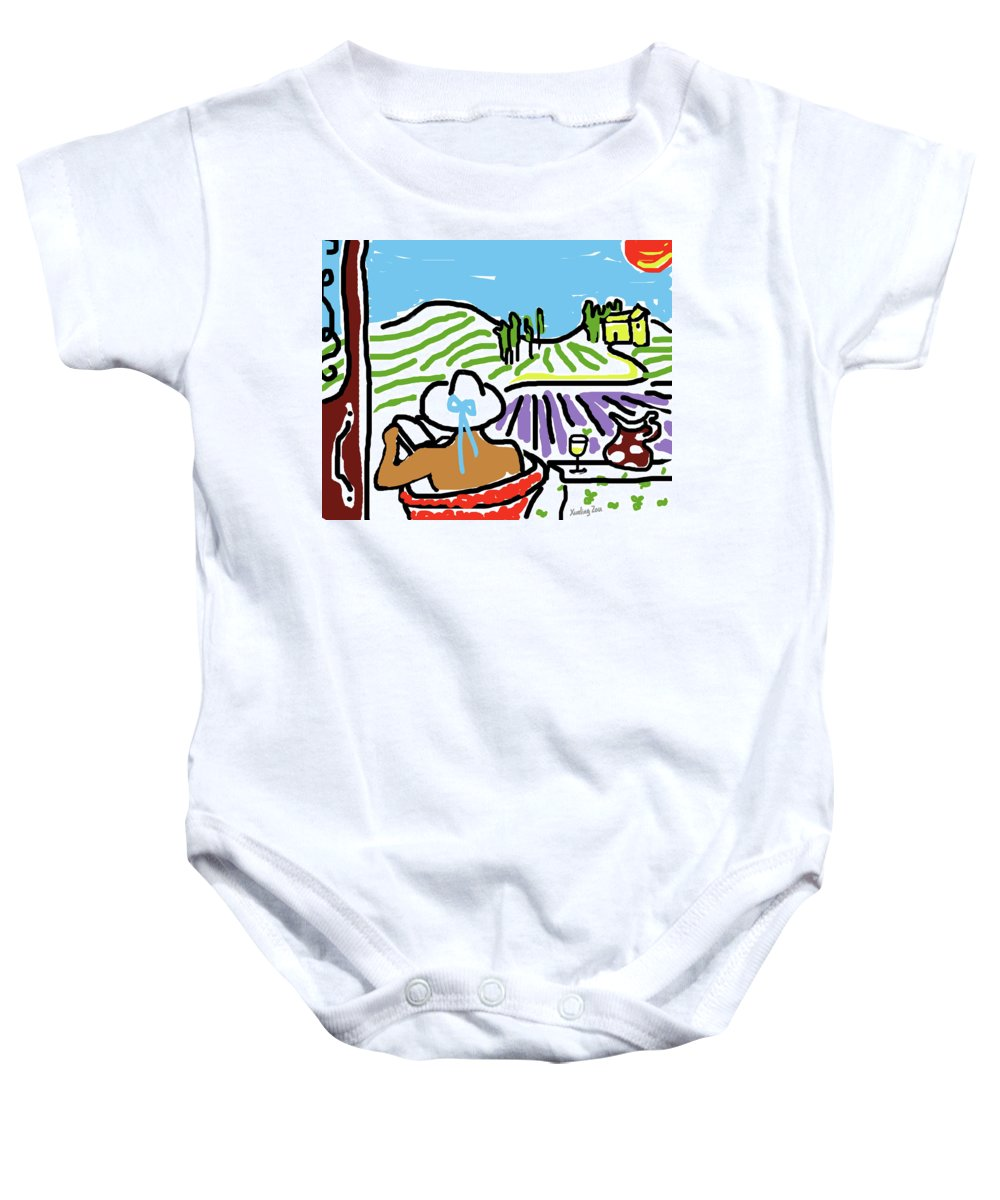 Digital Art Baby Onesie featuring the painting My Tuscany Dream 2 by Xueling Zou