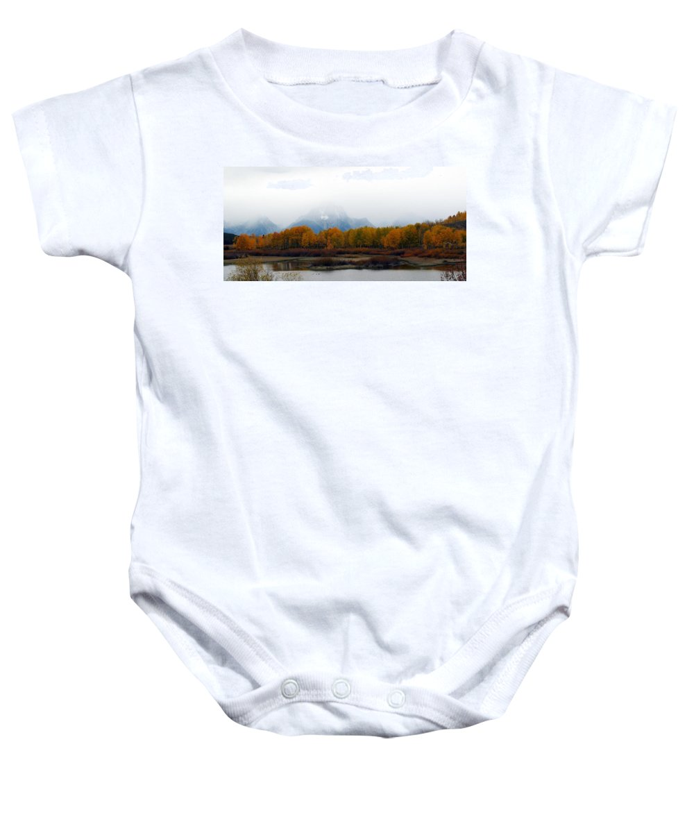 Fall Baby Onesie featuring the photograph Mystic Grand Teton by Carol Montoya