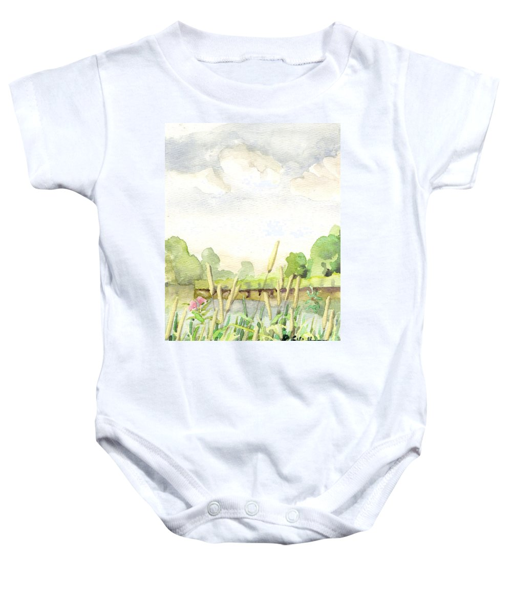 Acrylic Prints Baby Onesie featuring the painting Napanee River West by John Herzog