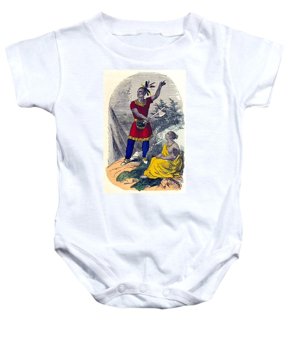 History Baby Onesie featuring the photograph Native American Indian Chief by British Library