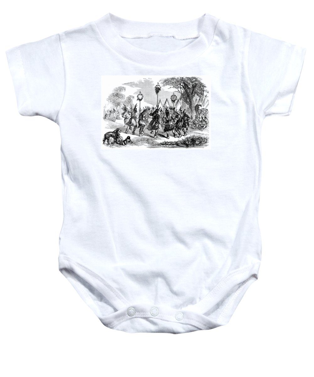 Religion Baby Onesie featuring the photograph Native American Scalp Dance by British Library