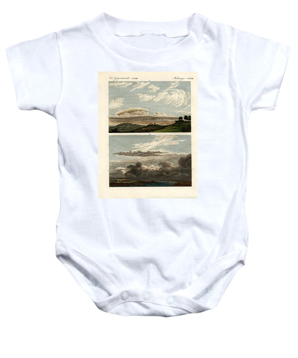 Bertuch Baby Onesie featuring the drawing Natural History Of The Clouds by Splendid Art Prints