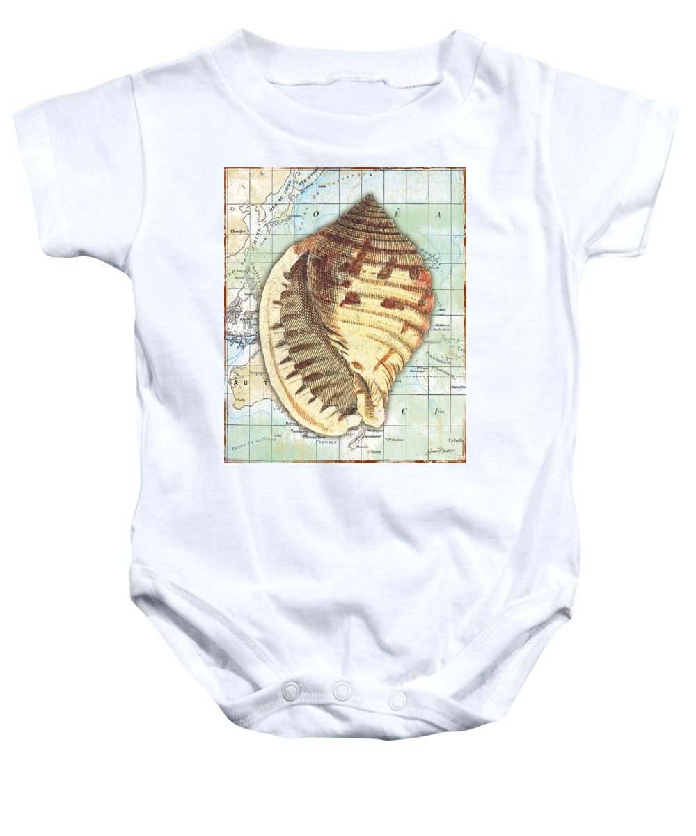 Vintage Baby Onesie featuring the digital art Nautical Journey-c by Jean Plout