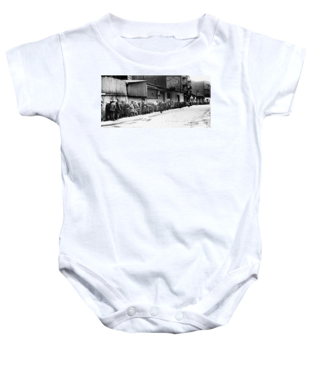 1930 Baby Onesie featuring the photograph New York City Bread Line by Granger