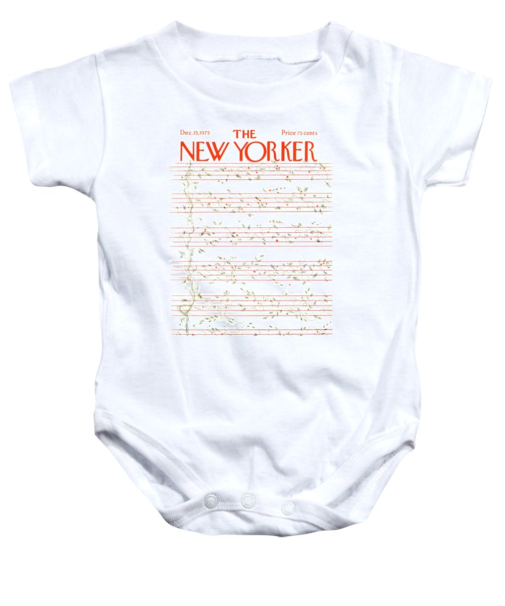 Christmas Baby Onesie featuring the painting New Yorker December 15th, 1975 by James Stevenson
