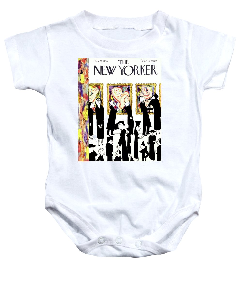 Art Baby Onesie featuring the painting New Yorker January 29 1938 by Christina Malman