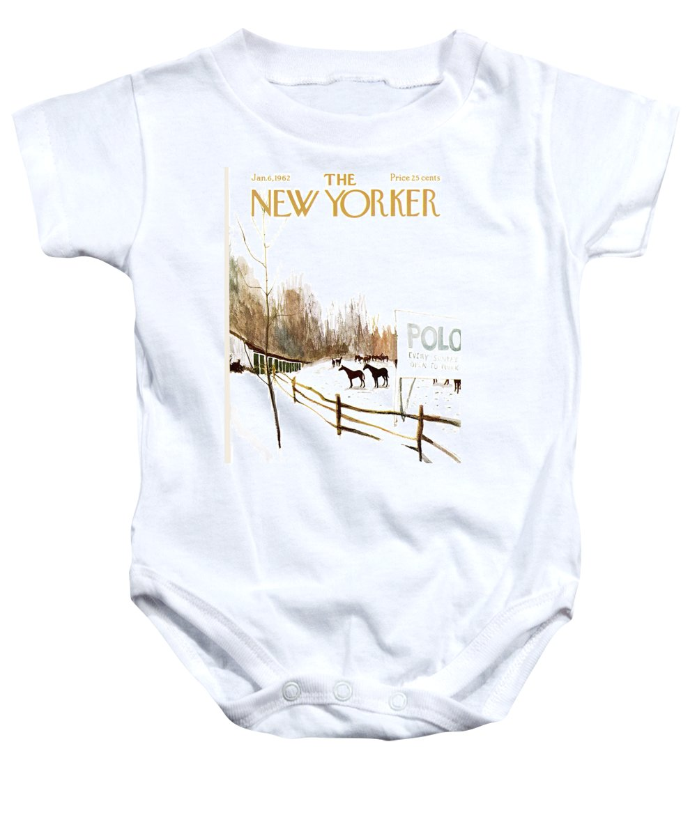 Suburb Baby Onesie featuring the painting New Yorker January 6th, 1962 by James Stevenson
