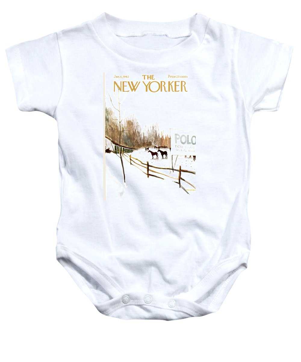 Suburb Country Outdoors Community Town Small Suburban Quaint Village Sport Sports Horse Horses Polo Snow Winter Snowing Jst James Stevenson Sumnerok James Stevenson Jst Artkey 49692 Baby Onesie featuring the painting New Yorker January 6th, 1962 by James Stevenson