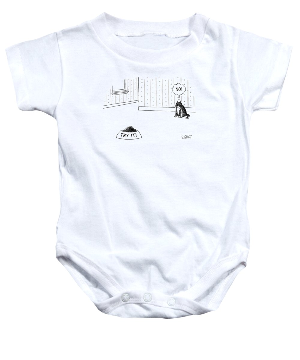 No Caption Baby Onesie featuring the drawing New Yorker June 17th, 1991 by Sam Gross