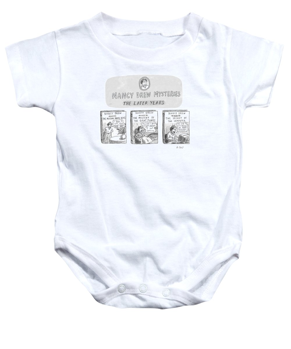 Old Age Baby Onesie featuring the drawing New Yorker June 22nd, 1998 by Roz Chast